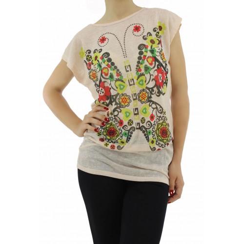 53bbda178e0 Дамска блуза къс ръкав - W1370 - св. праскова - Дамски блузи къс ...